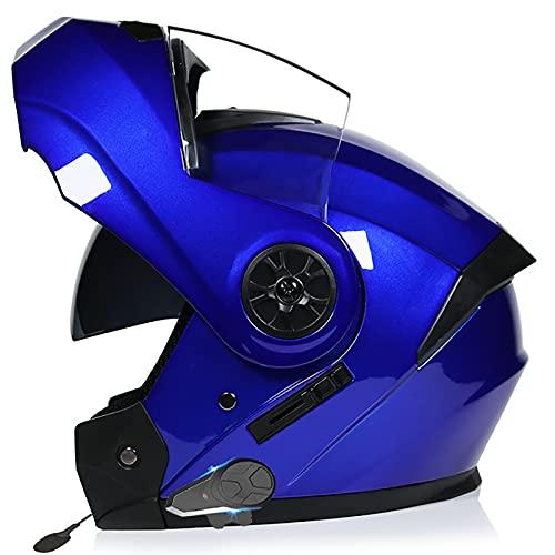 Casco de Moto Integral Para Adultos,Casco de Moto Bluetooth con Visera Doble Antivaho,Certificación ECE con Doble Visera Casco de Moto de Carreras Moto Abatible Casco Integral F,L=59~60cm