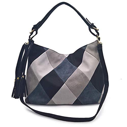 plhzh Bolsos de cuero para mujer, bolsos casuales retro de gran capacidad, bandoleras, bolsos, bolsos de mujer-black