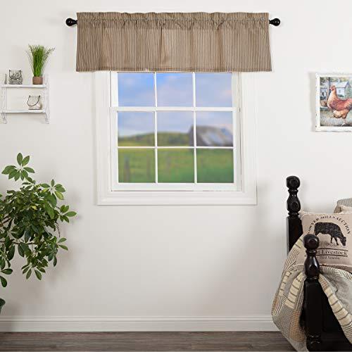 VHC Brands Sawyer Mill Curtain, Valance 16x60, Charcoal Black