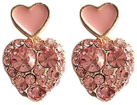 MUMUMI Öronörhängen, älva små rosa hjärtformade clip-on örhängen inget hål roséguld färg full strass hjärta klämma på örhängen inga piercing kvinnor, hål öron