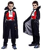 Costume Vampiro - Travestimento - Carnevale - Halloween - Dracula - Twilight - Colore Nero - Denti inclusi - Bambino - Taglia L - 7-8 anni - Idea regalo per natale e compleanno
