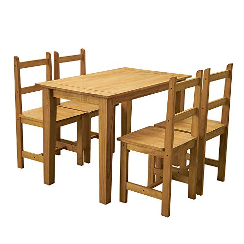 Panana Rectangle Corona Dining Table and 4 Chairs Solid Pine Wood Chairs Seats Dining Room Set Furniture Kitchen