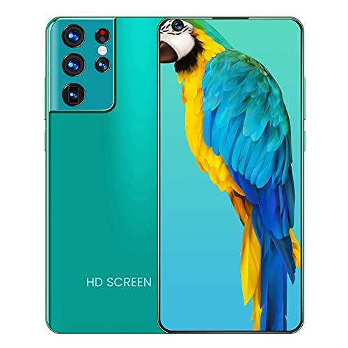 KHDJ Smartphone 2 + 16GB, 5160Mah, con Pantalla De Gota De Agua De 7.3 Pulgadas Desbloqueo Facial/Huella Digital Batería De 2800Mah Teléfono Inteligente Resistente,Verde
