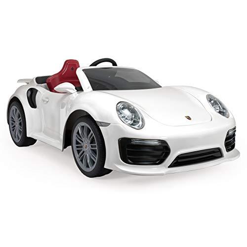 INJUSA - Porsche 911 Turbo S 12V Colore Bianco, Consigliata per Bambini +3 Anni con Luci e Suoni, Telecomando e Connessione MP3