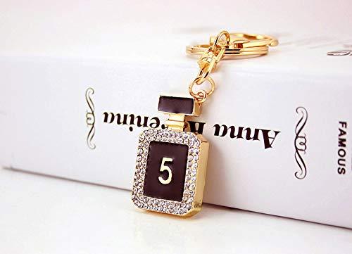 Cadeaus UK® Zwart Wit Diamante Crystal Parfum Fles Sleutelhanger Handtas Bedel