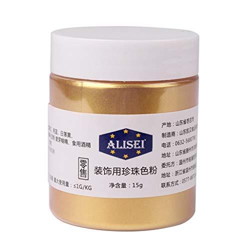 Gwxevce 15g Flash Glitter Powder Pigmentos comestibles para Decorar Alimentos Pastel Galletas Hornear Oro