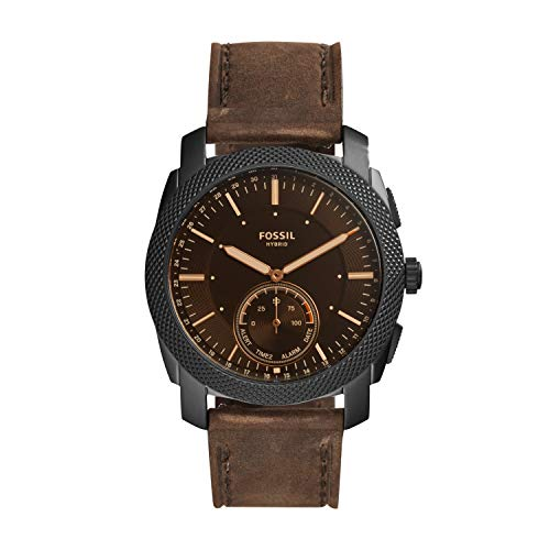 Fossil Men's 45mm Machine Stainless Steel and Leather Hybrid Smart Watch, Color: Black, Brown (Model: FTW1163)