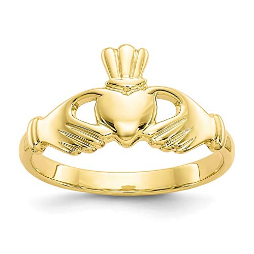 10k Yellow Gold Irish Claddagh Celtic Knot Band Ring Size 6.50 Fine Jewellery For Women Gifts For Her