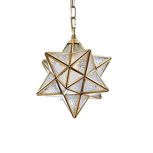 GLXLSBZ Lámpara Colgante de Estrella de Moravia de 14 Pulgadas, lámpara Colgante Moderna con Pantalla de Vidrio Transparente, Base de Bombilla E27 Acabado en latón, para Pasillo Restaurant