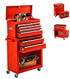Tool Chest With Wheels 8 Drawer & Removable Tool Box With Locks,Rolling Tool Storage Cabinet Simple Assembly for Garage/Warehouse (Red)