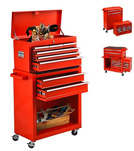 Tool Chest With Wheels 8 Drawer & Removable Tool Box With Locks,Rolling Tool Storage Cabinet Simple Assembly for Garage/Warehouse Tool...