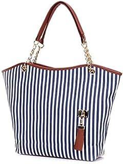Fashion Women Ladies Handbag Shopping Stripes Tassel Tote Shoulder Bag Linen