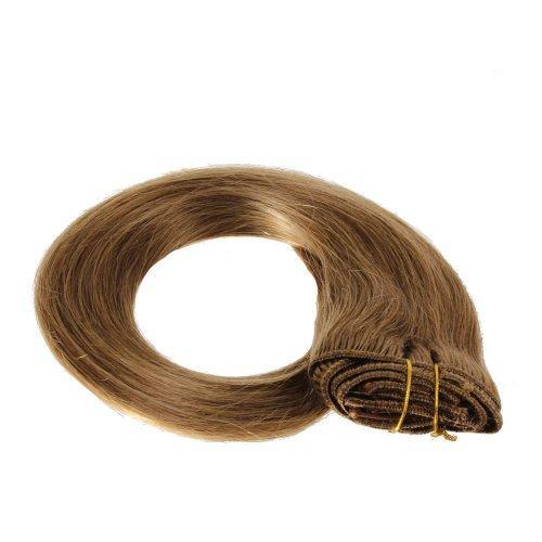 Just Beautiful Hair and Cosmetics Extensions capillaires Fixation Clip in Véritables cheveux Remy Blond foncé (14) Longueur 50 cm
