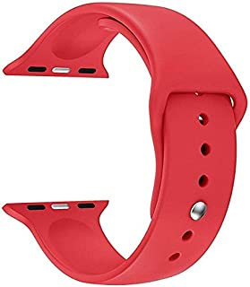 Jump Start Watch Sports Band Compatible for Apple Watch 38mm/40mm, Soft Silicone Sports Strap Band Compatible for iWatch Apple Watch Series 5, Series 4, Series 3/2/1 (Red)