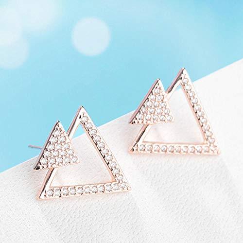 YFZCLYZAXET Pendientes Mujer Joyería De Plata De Ley 925, Pendientes De Botón Triangulares Huecos De Cristal Brillante, Pendientes De Moda De Regalo De Circonita para Mujer -Rose_Gold