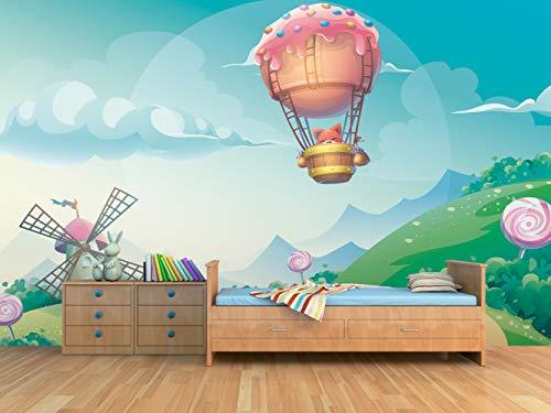 Fotomural Vinilo para Pared Gato en Globo | Fotomural para Paredes | Mural | Vinilo Decorativo | Varias Medidas 350 x 250 cm | Decoración Habitaciones | Infantiles