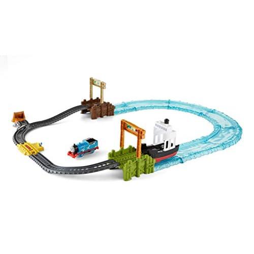 Il Trenino Thomas Pista del Molo, Playset con Veicolo Motorizzato, una Nave, una Pista TrackMaster e una Pista Acquatica, per i Bambini di 3+ Anni,FJK49
