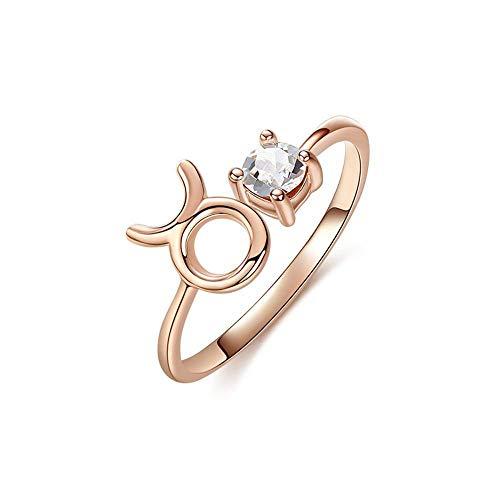 Lozse S925 Sterling zilver rosé goud 12 sterrenbeeld Ring-It Kan verstelbaar zijn
