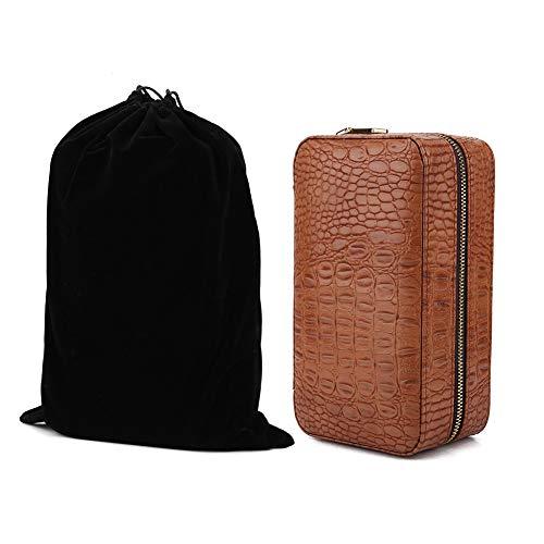 zhuolong Holz tragbare Reise Outdoor Zigarre Humidor PU Leder Zigarren Aufbewahrungsbox mit Luftbefeuchter Ca. 606 g