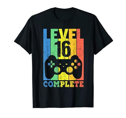 16 Años Cumpleaños Niño Niña Chico Chica Regalo Level 16 Camiseta