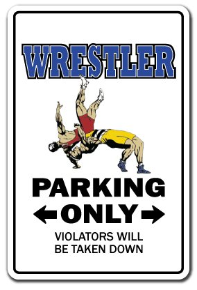 "WRESTLER Sign wrestle sports athlete coach high school college wrestling | Indoor/Outdoor | 14"" Tall Plastic Sign"