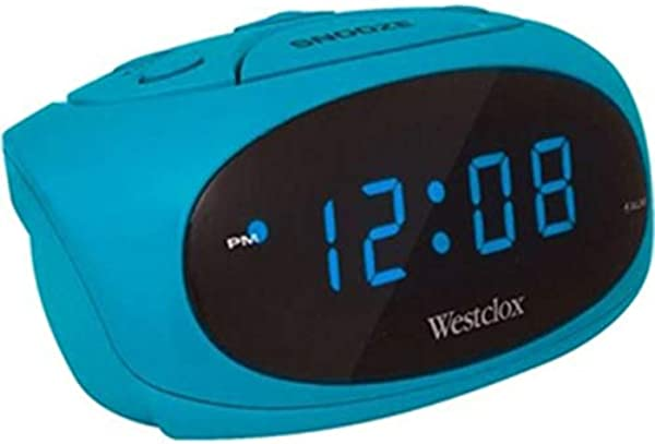 Westclox Teal LED Display Tabletop Electric Alarm Clock Teal 70044T