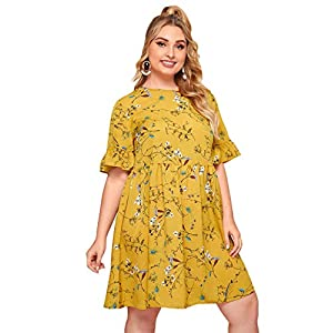 Milumia Women Plus Size Floral Print Ruffle Hem High Waist Loose Smock Dress