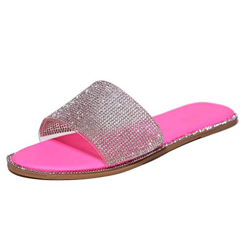 URIBAKY - Sandalias para mujer de cristal Roman Flat Slippers Casual Beach Indoor & Outdoor Shoes, (rosa fuerte), 37 EU