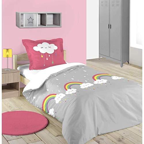 Housse de Couette Cloudy Petits Nuages, Gris/Rose, 140x200cm, 1 Personne, 100% Coton