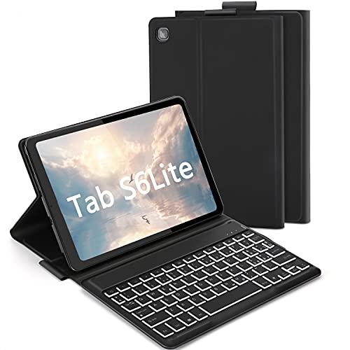 """ASHU Custodia con Tastiera per Samsung Galaxy Tab S6 Lite 10.4"""", Tastiera Retroilluminata a 7 Colori,Rimovibile, Layout QWERTY Italiano, Cover Etui e TPU per Samsung SM-P610/P615, Nero"""