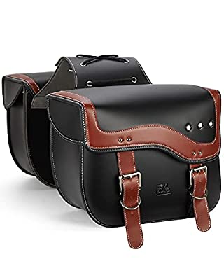 Motorcycle Saddlebags, Side Saddle Bags Leather PU compatible with vulcan, shadow, sporster vt1100 Throw Over Saddle Bag Universal Motorcycle Accessories,Brown by kemimoto