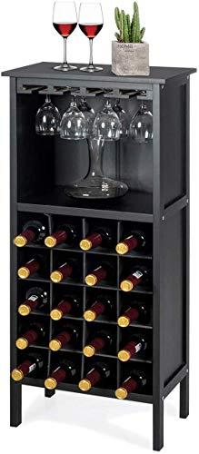 COSTWAY Botellero Vino con Soporte para 20 Botellas Madera Vino Estante Armario con Copa de Vino Colgante (Negro)