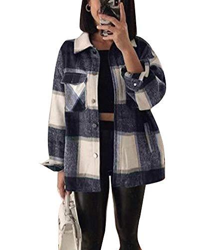 ORANDESIGNE Kariertes Taschen Knöpfen Langarm Oversize Bluse Mantel Hemdjacke Holzfällerjacke Damen Mode (XS, Blau)
