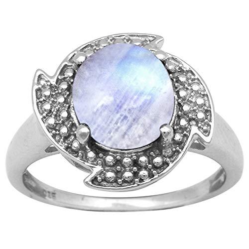 Shine Jewel Anillo Chakra Vintage 925 Plata de Ley 2.75 Ctw Anillo Unisex de Piedra Lunar (12)