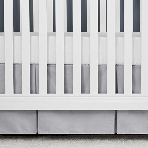 TILLYOU Gray Pleated Crib Skirt, 100% Natural Cotton, Nursery Crib Bedding Skirt for Baby Boys and Girls, 14'' Drop Pale Gray