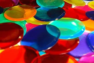 1000 Assorted Colored 3/4 Inch Transparent Bingo Chips (Markers) with Free Velour Bag