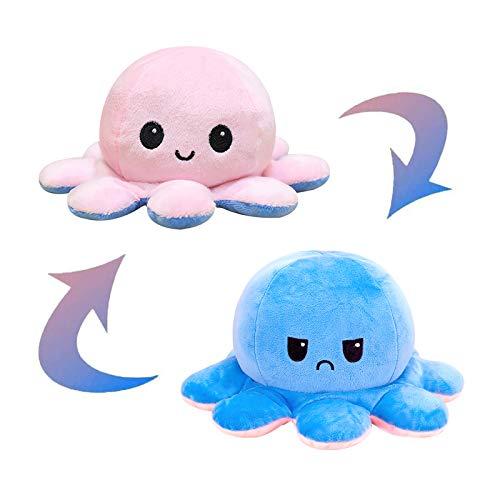 Simpatica Bambola di Polpo a Doppia Faccia Peluche Reversibile Polpo Bambole Flip Octopus Adorabili Regali di Polpo per Bambini E Amici