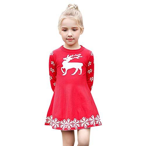 MRULIC MRULIC Baby Mädchen Schöne Minikleid Baumwolle Warme Pullover Blusenkleid Winter Stricken Sweater Jumper Kleider Outfits Babysachen Für 1-6 Jahre altes Mädchen(B-Rot,Höhe:95-100CM)