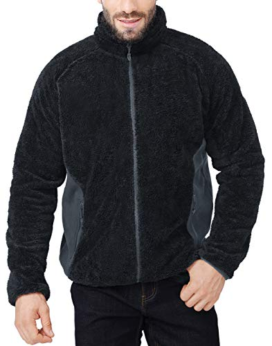 CAMEL CROWN Mens Fuzzy Fleece Jacket Full-Zip with Pockets Soft Fluffy Winter Coat Black L
