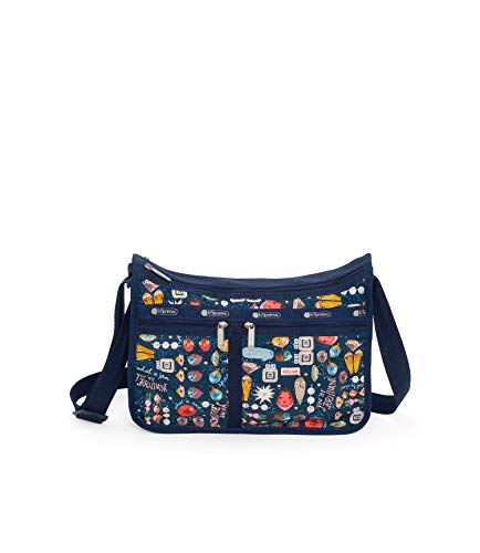 LeSportsac Little Jewels Deluxe Everyday Crossbody Bag + Cosmetic Bag, Style 7507/Color F502, Colorful Pop Art Jewel Designs, Glitter Strap