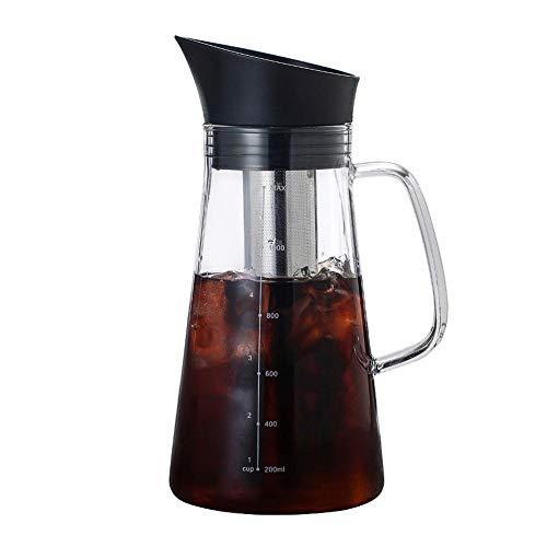 Jinclonder Koffiekan, koude en warme koffiepot met dubbele functie, koude extractie, ijsgezette koffiekan, dikke borosilicaatglas, waterfles, roestvrije filterkoffiepot