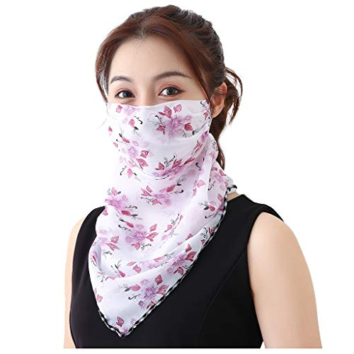 N/X Akaslife Women Sun Protection Print Scarf Dustproof Neck Scarf Masks Chiffon Protection Cover for Women Outdoor Hiking Cycling