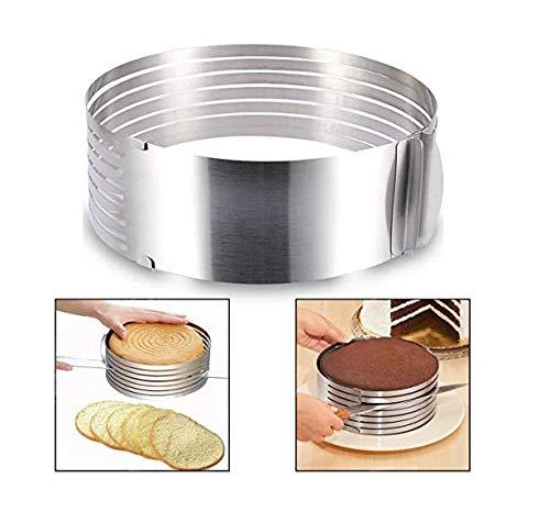Itian Molde para laminar tartas, rebanador de la rebanada de la torta de la capa del kit de la rebanada de la torta, de acero inoxidable, Cortador ajustable de acero inoxidable para tarta (6- 8Inch)