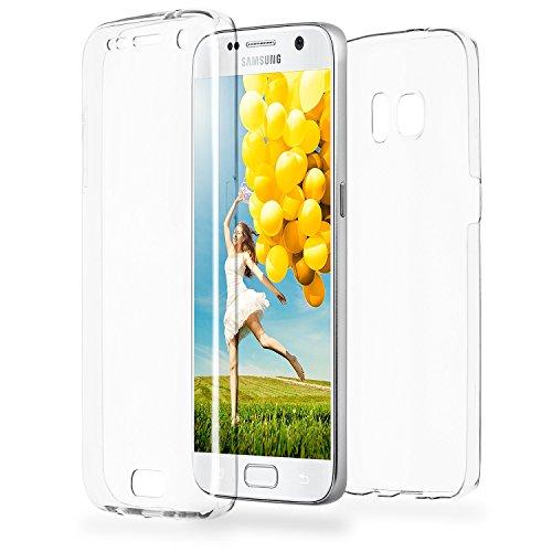 MoEx® Double Hülle Samsung Galaxy S7 Hülle Silikon Transparent | Beidseitige Handyhülle mit 360 Grad Komplett R&um-Schutz, Transparent