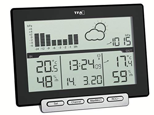 TFA Dostmann Meteo Sens Funk-Wetterstation, mit Thermo-Hygroaußensender, Wettervorhersage, schwarz