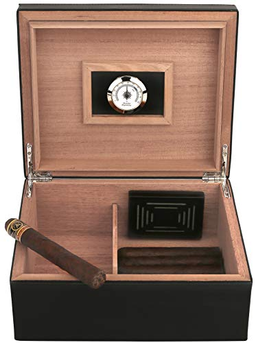 Mantello Black Leather Luxury Cigar Humidor Humidifier Box with Hygrometer - Holds (25-50 Cigars)