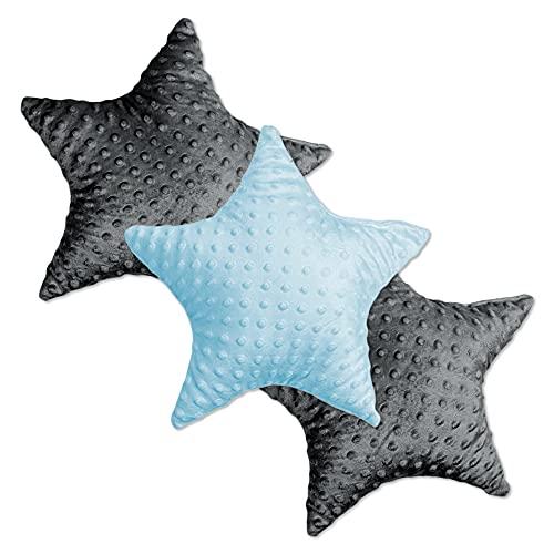 Cojín Decorativo para habitación Infantil Star – Cojín de Felpa para niños niñas niños cojín Decorativo Azul Claro-Gris Oscuro Minky