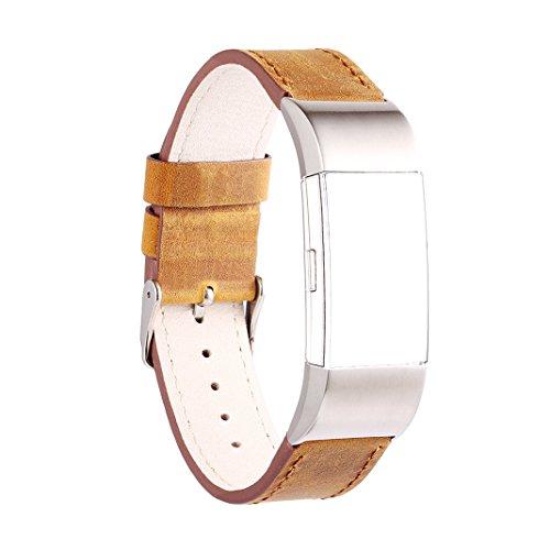 AnGolf voor Fitbit Charge 2 Band Leer, AISPORTS Gek Paard Leer Smart Horloge Polsband Verstelbare Vervangende Band met Metalen Armband Gesp Sluiting voor Fitbit Charge 2 Smart Fitness Tracker, Large, BRON