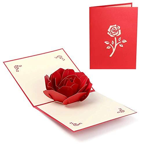 Tarjeta de Felicitación Pop Up 3D, Rosa Tarjeta de felicitación de cumpleaños desplegable,para La Familia Niños Amigos Amante de San Valentín Feliz Cumpleaños Aniversario