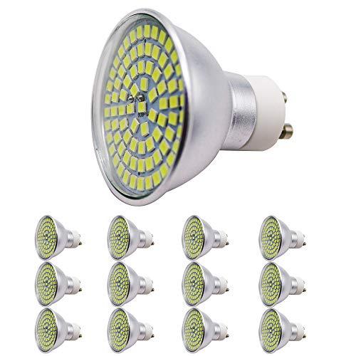 Pack de 12 bombillas LED de 5 W, GU10, 80 SMD, CA 220-230 V, 450 lúmenes, ángulo de dispersión de 120°, luz blanca fría 6000 K